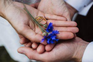 Eheringe in den Händen des Hochzeitspaares mit Blume dekoriert